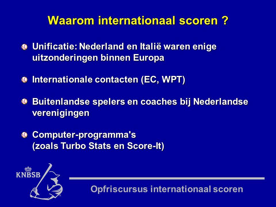 Opfriscursus internationaal scoren Unificatie: Nederland en Italië waren enige uitzonderingen binnen Europa Internationale contacten (EC, WPT) Buitenlandse spelers en coaches bij Nederlandse verenigingen Computer-programma s (zoals Turbo Stats en Score-It) Waarom internationaal scoren