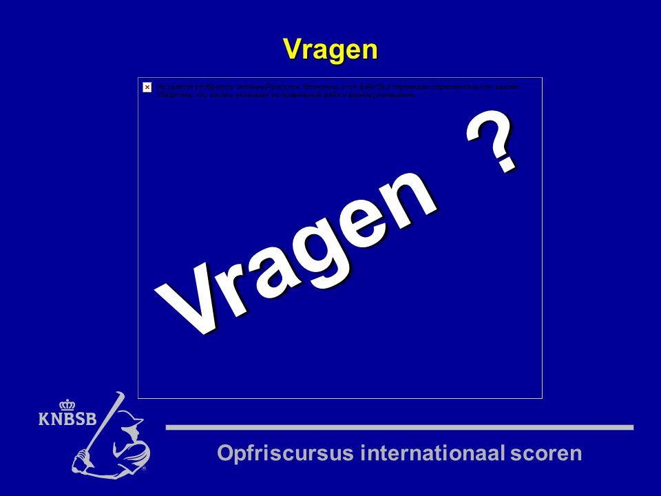 Opfriscursus internationaal scoren Vragen Vragen