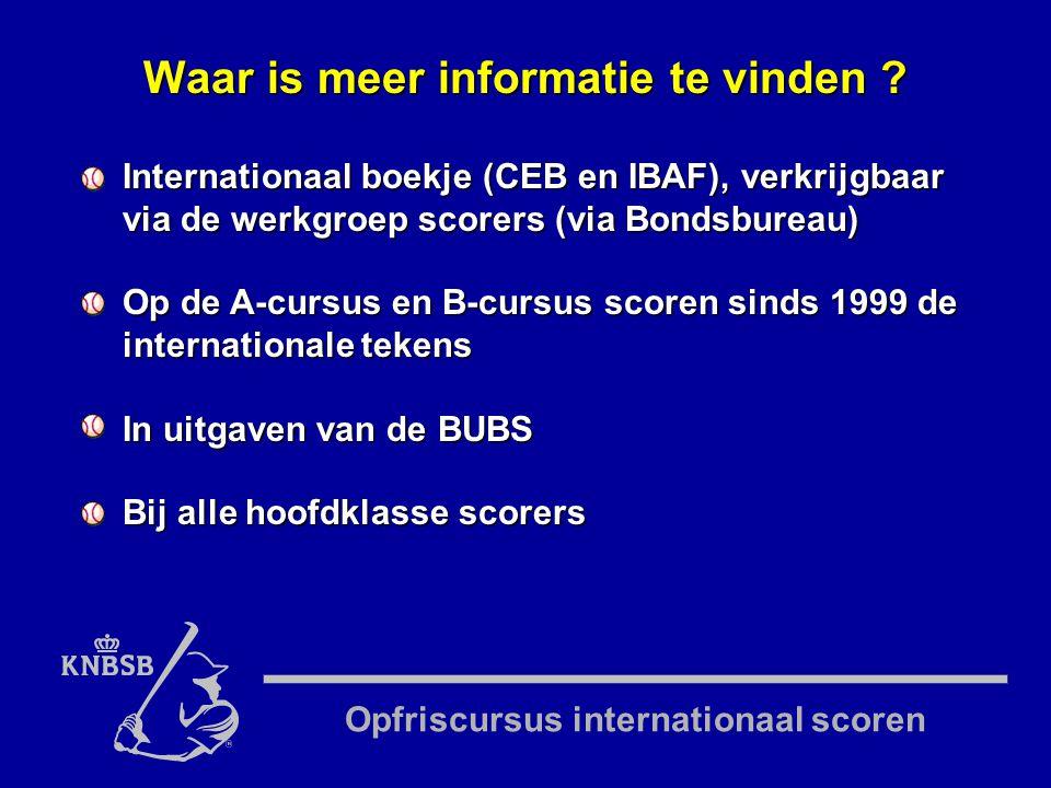 Opfriscursus internationaal scoren Internationaal boekje (CEB en IBAF), verkrijgbaar via de werkgroep scorers (via Bondsbureau) Op de A-cursus en B-cursus scoren sinds 1999 de internationale tekens In uitgaven van de BUBS Bij alle hoofdklasse scorers Waar is meer informatie te vinden