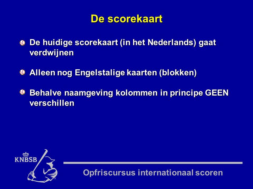 Opfriscursus internationaal scoren De huidige scorekaart (in het Nederlands) gaat verdwijnen Alleen nog Engelstalige kaarten (blokken) Behalve naamgeving kolommen in principe GEEN verschillen De scorekaart