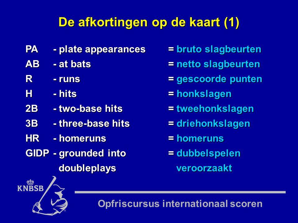 Opfriscursus internationaal scoren PA- plate appearances= bruto slagbeurten AB- at bats= netto slagbeurten R- runs= gescoorde punten H- hits= honkslagen 2B- two-base hits= tweehonkslagen 3B- three-base hits= driehonkslagen HR- homeruns= homeruns GIDP- grounded into= dubbelspelen doubleplays veroorzaakt De afkortingen op de kaart (1)