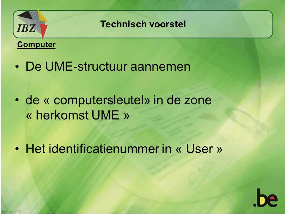 De UME-structuur aannemen de « computersleutel» in de zone « herkomst UME » Het identificatienummer in « User » Technisch voorstel Computer