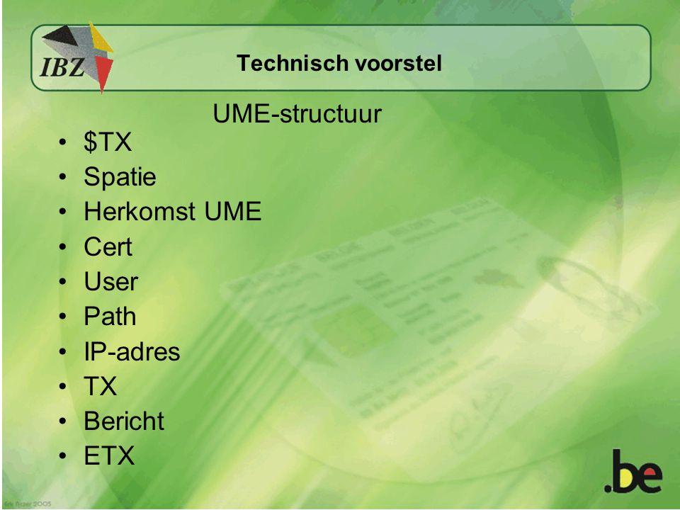 Technisch voorstel $TX Spatie Herkomst UME Cert User Path IP-adres TX Bericht ETX UME-structuur