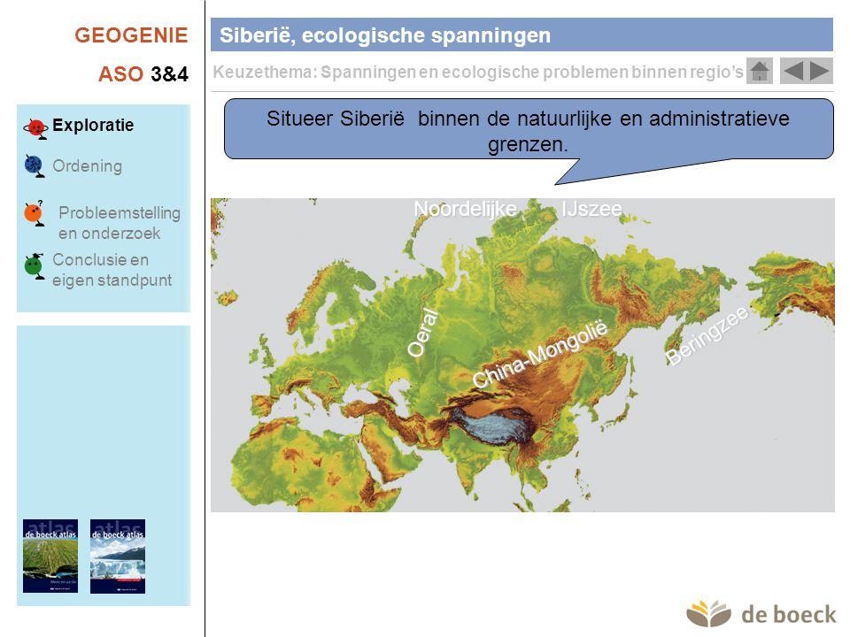 GEOGENIE ASO 3&4 Siberië, ecologische spanningen Keuzethema: Spanningen en ecologische problemen binnen regio's Exploratie Ordening Conclusie en eigen standpunt Probleemstelling en onderzoek Situeer Siberië binnen de klimaatzones (zie eerste lessen).