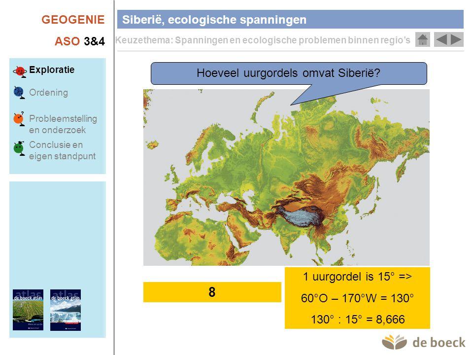 GEOGENIE ASO 3&4 Siberië, ecologische spanningen Keuzethema: Spanningen en ecologische problemen binnen regio's Exploratie Ordening Conclusie en eigen standpunt Probleemstelling en onderzoek Wat zijn de klimaatvoorwaarden van toendra en van taiga.