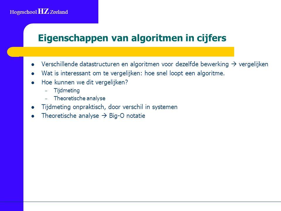 Hogeschool HZ Zeeland Eigenschappen van algoritmen in cijfers Verschillende datastructuren en algoritmen voor dezelfde bewerking  vergelijken Wat is interessant om te vergelijken: hoe snel loopt een algoritme.