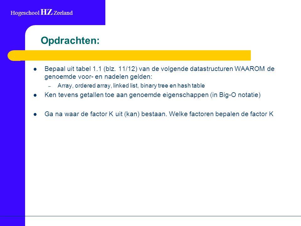 Hogeschool HZ Zeeland Opdrachten: Bepaal uit tabel 1.1 (blz.