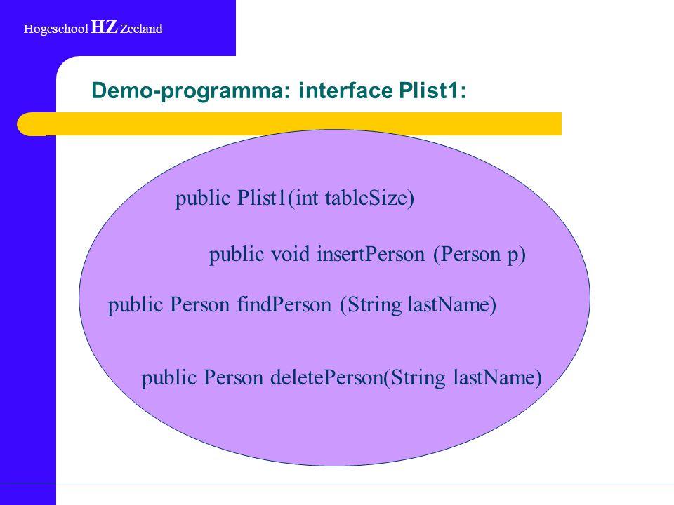Hogeschool HZ Zeeland Demo-programma: interface Plist1: public void insertPerson (Person p) public Person findPerson (String lastName) public Person d