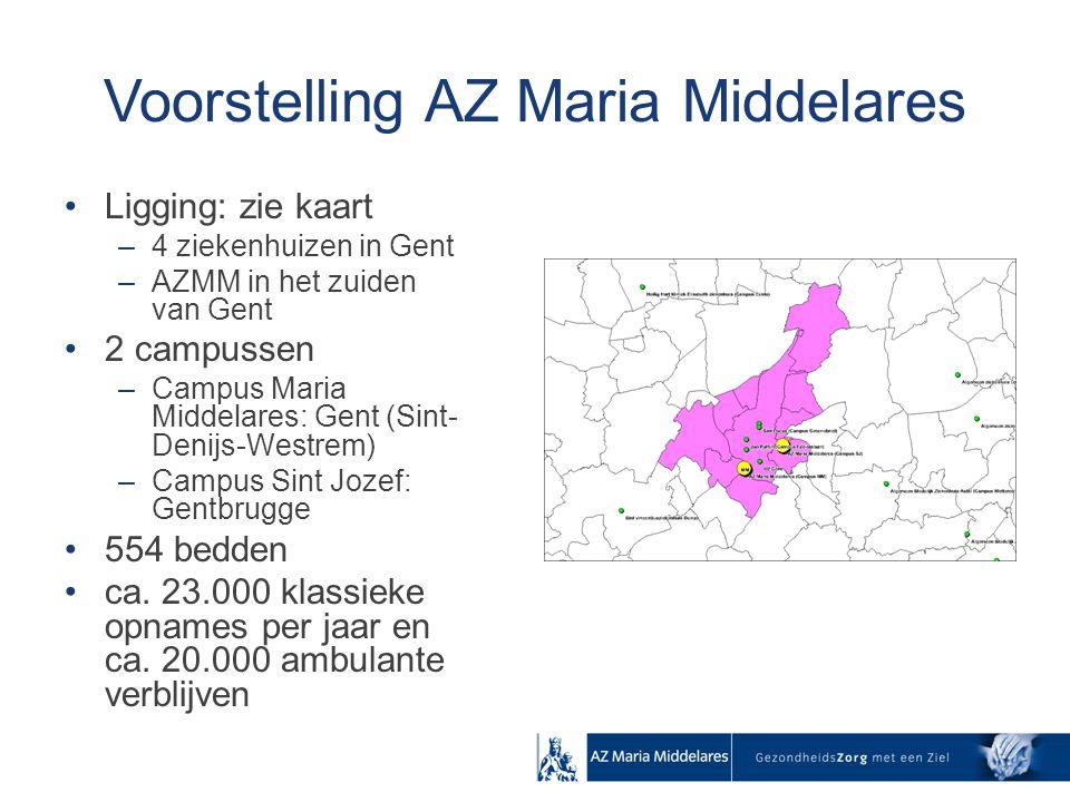 Voorstelling AZ Maria Middelares Ligging: zie kaart –4 ziekenhuizen in Gent –AZMM in het zuiden van Gent 2 campussen –Campus Maria Middelares: Gent (S