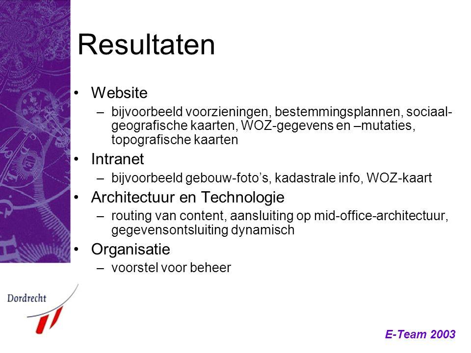 E-Team 2003 Resultaten Website –bijvoorbeeld voorzieningen, bestemmingsplannen, sociaal- geografische kaarten, WOZ-gegevens en –mutaties, topografisch