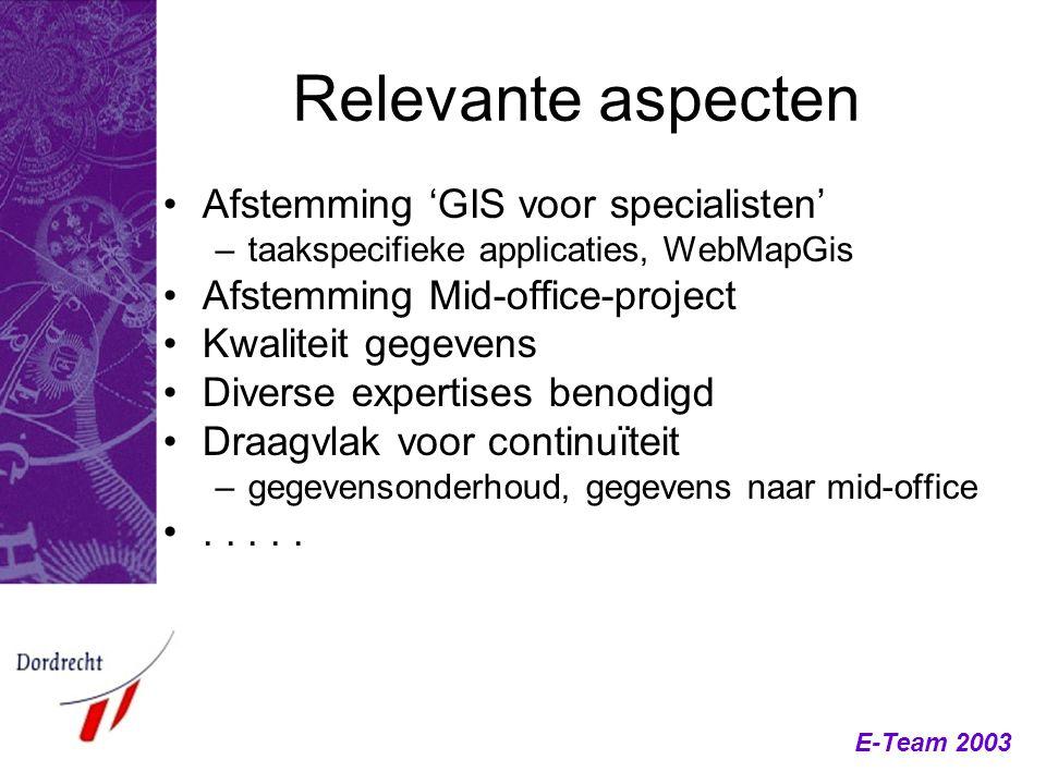 E-Team 2003 Relevante aspecten Afstemming 'GIS voor specialisten' –taakspecifieke applicaties, WebMapGis Afstemming Mid-office-project Kwaliteit gegev
