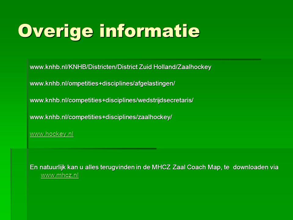 Overige informatie www.knhb.nl/KNHB/Districten/District Zuid Holland/Zaalhockey www.knhb.nl/ompetities+disciplines/afgelastingen/www.knhb.nl/competities+disciplines/wedstrijdsecretaris/www.knhb.nl/competities+disciplines/zaalhockey/ www.hockey.nl En natuurlijk kan u alles terugvinden in de MHCZ Zaal Coach Map, te downloaden via www.mhcz.nl www.mhcz.nl