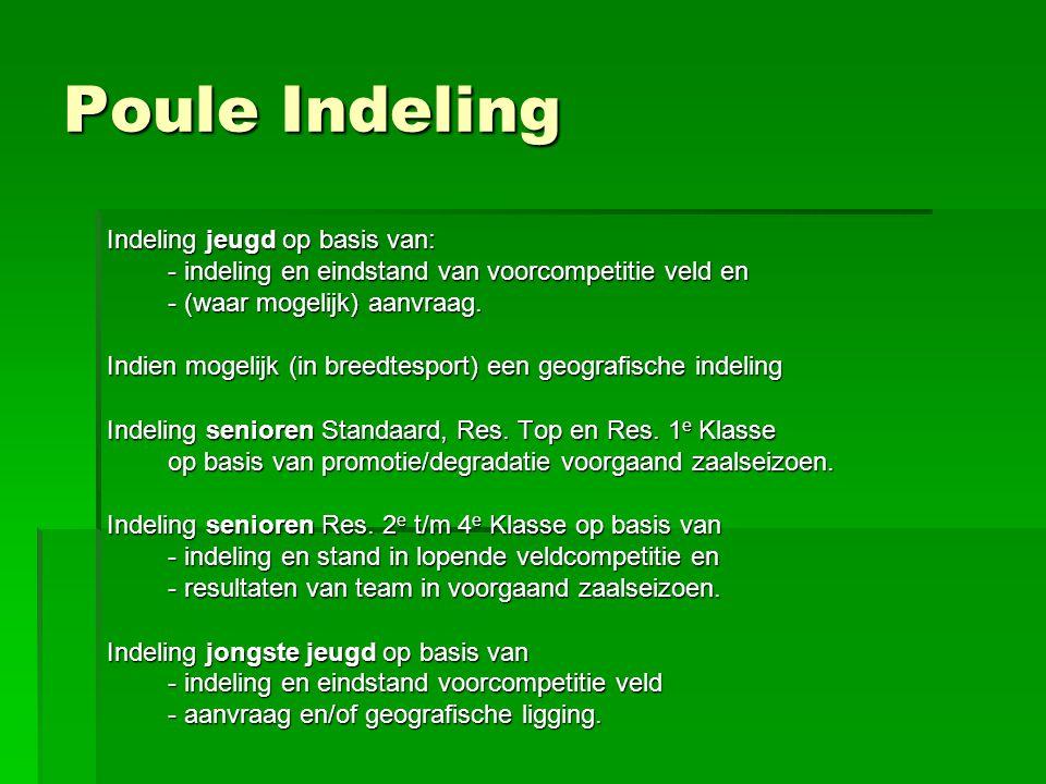 Poule Indeling Indeling jeugd op basis van: - indeling en eindstand van voorcompetitie veld en - (waar mogelijk) aanvraag. Indien mogelijk (in breedte