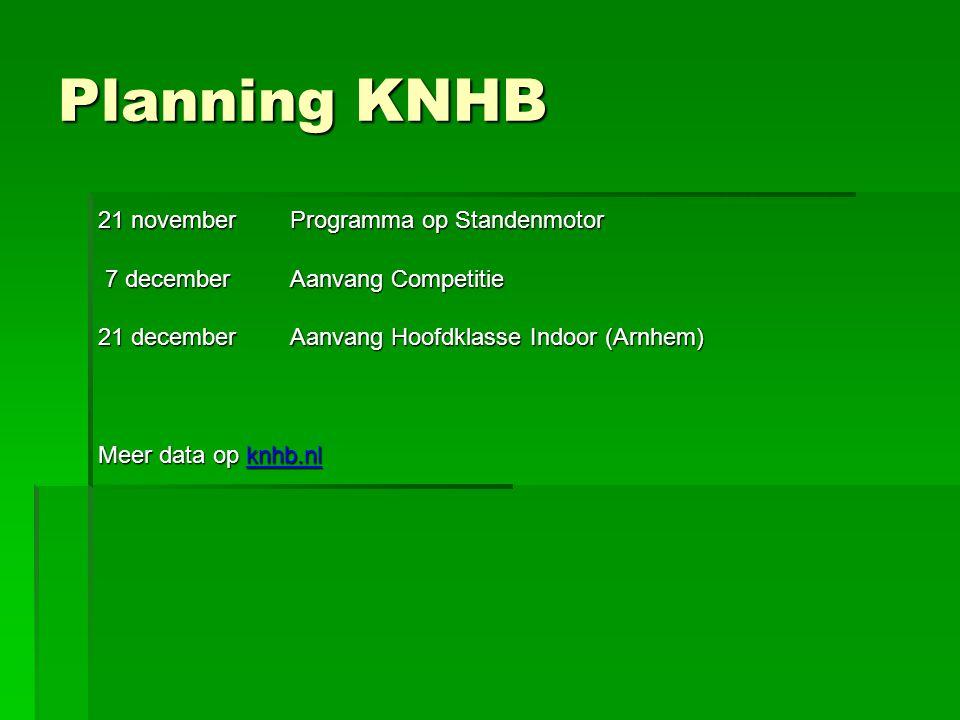 Planning KNHB 21 novemberProgramma op Standenmotor 7 decemberAanvang Competitie 7 decemberAanvang Competitie 21 decemberAanvang Hoofdklasse Indoor (Arnhem) Meer data op knhb.nl