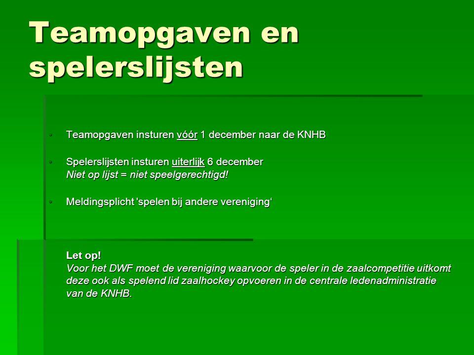 Tucht  Aparte registratie gele/rode kaarten zaal; iedereen begint seizoen met schone lei (0 kaarten), maar een nog niet (geheel) ten uitvoer gelegde schorsing van vorig zaalseizoen moet in dit seizoen worden uitgezeten!.