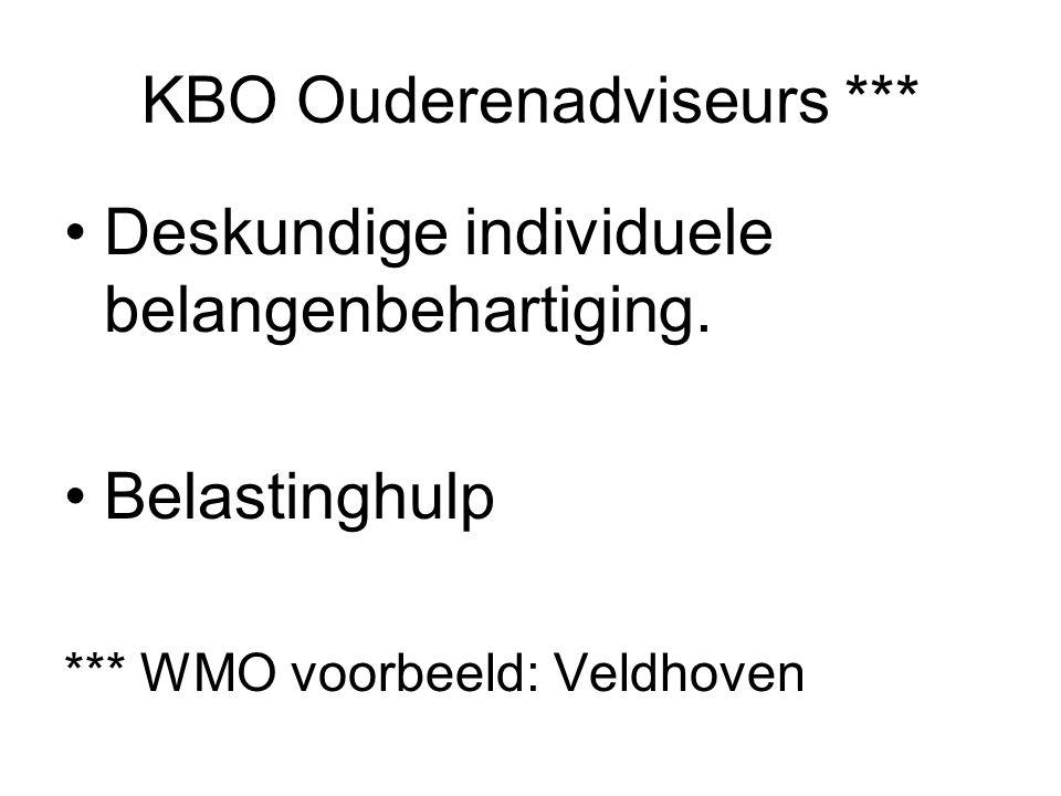 KBO Ouderenadviseurs *** Deskundige individuele belangenbehartiging. Belastinghulp *** WMO voorbeeld: Veldhoven