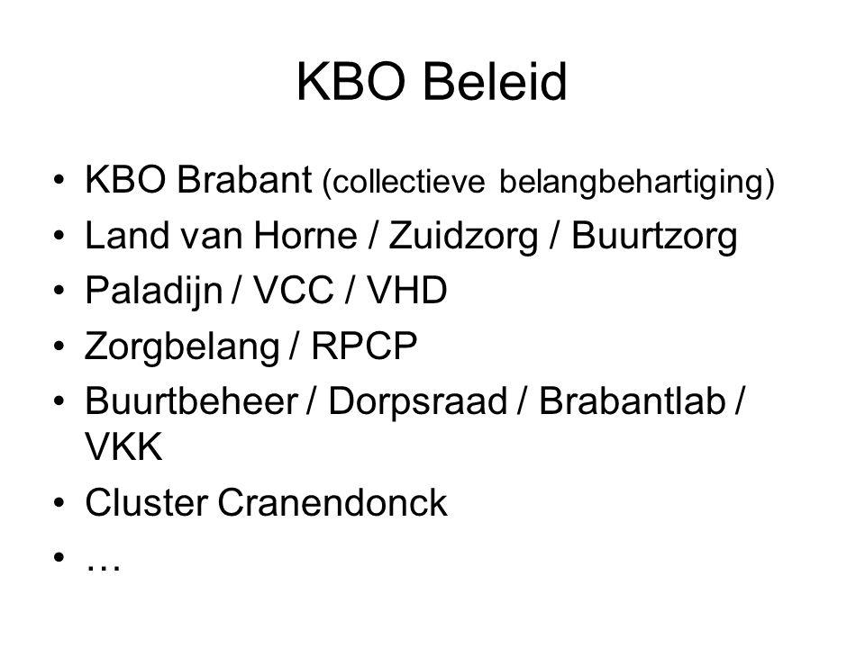 KBO Beleid KBO Brabant (collectieve belangbehartiging) Land van Horne / Zuidzorg / Buurtzorg Paladijn / VCC / VHD Zorgbelang / RPCP Buurtbeheer / Dorp