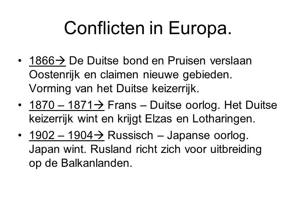 Conflicten in Europa. 1866  De Duitse bond en Pruisen verslaan Oostenrijk en claimen nieuwe gebieden. Vorming van het Duitse keizerrijk. 1870 – 1871