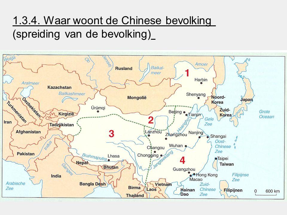 1.3.4. Waar woont de Chinese bevolking (spreiding van de bevolking)