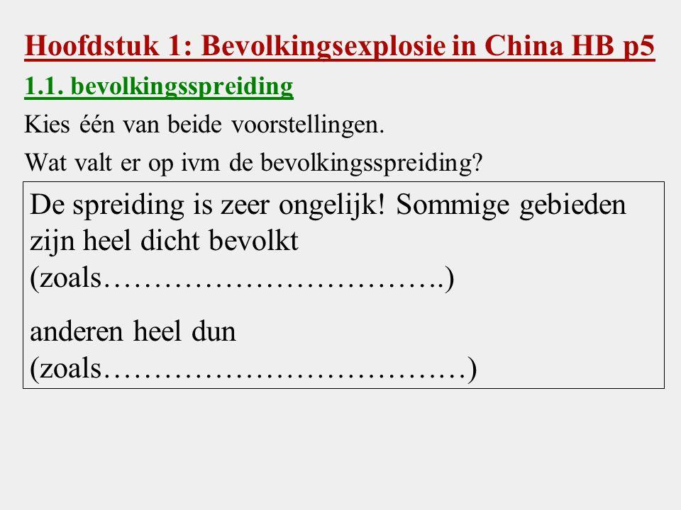Hoofdstuk 1: Bevolkingsexplosie in China HB p5 1.1.