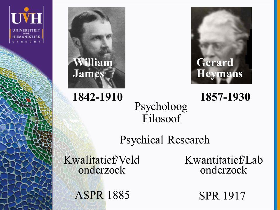 William James Gerard Heymans 1842-19101857-1930 Kwalitatief/Veld onderzoek Kwantitatief/Lab onderzoek Psychical Research ASPR 1885 SPR 1917 Psycholoog