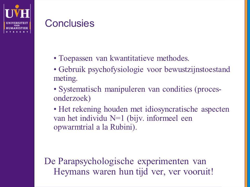 Conclusies Toepassen van kwantitatieve methodes. Gebruik psychofysiologie voor bewustzijnstoestand meting. Systematisch manipuleren van condities (pro