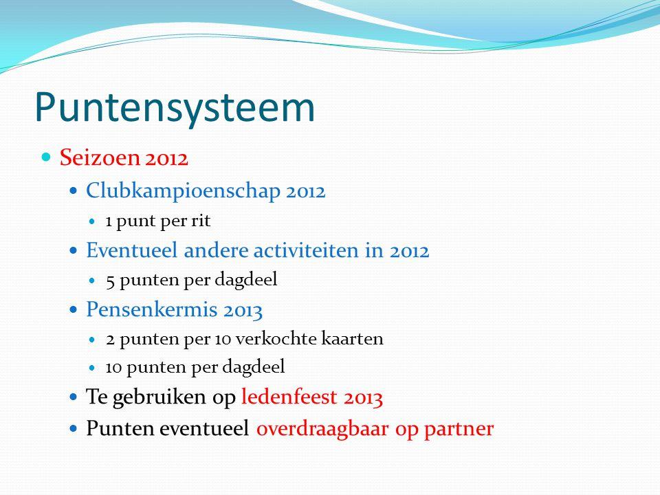 Puntensysteem Seizoen 2012 Clubkampioenschap 2012 1 punt per rit Eventueel andere activiteiten in 2012 5 punten per dagdeel Pensenkermis 2013 2 punten