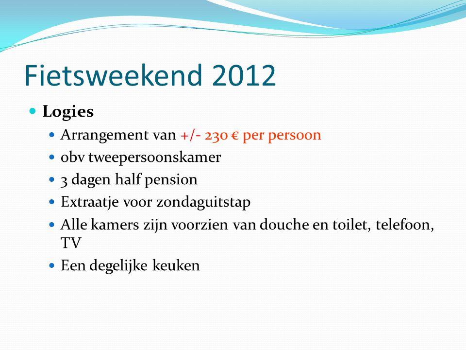 Fietsweekend 2012 Logies Arrangement van +/- 230 € per persoon obv tweepersoonskamer 3 dagen half pension Extraatje voor zondaguitstap Alle kamers zij