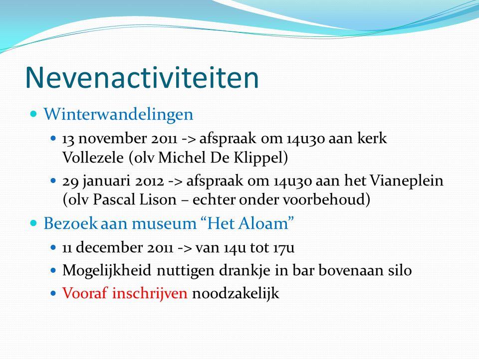 Nevenactiviteiten Winterwandelingen 13 november 2011 -> afspraak om 14u30 aan kerk Vollezele (olv Michel De Klippel) 29 januari 2012 -> afspraak om 14