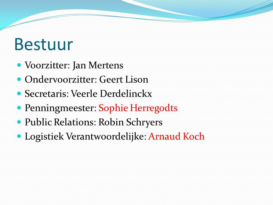 Bestuur Voorzitter: Jan Mertens Ondervoorzitter: Geert Lison Secretaris: Veerle Derdelinckx Penningmeester: Sophie Herregodts Public Relations: Robin