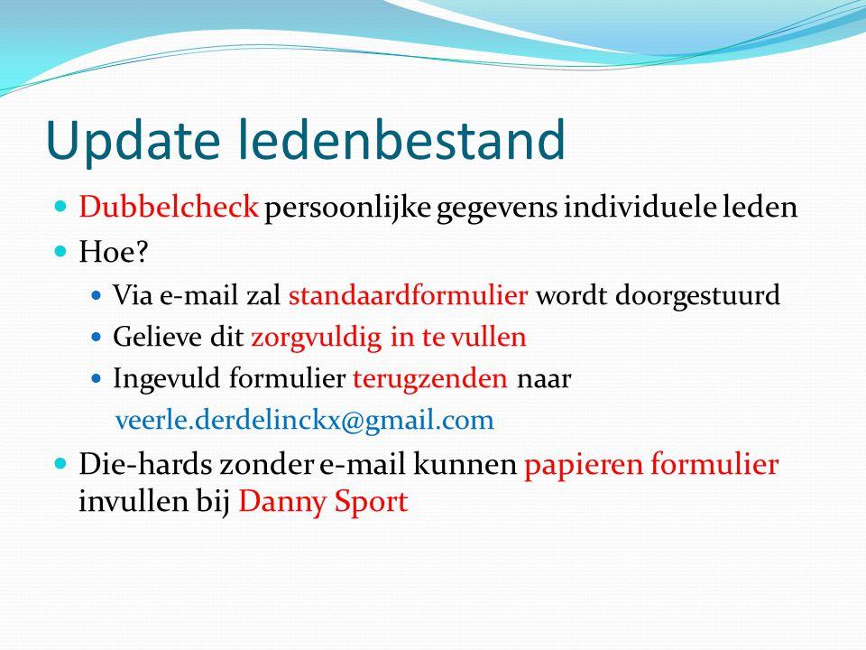 Update ledenbestand Dubbelcheck persoonlijke gegevens individuele leden Hoe? Via e-mail zal standaardformulier wordt doorgestuurd Gelieve dit zorgvuld