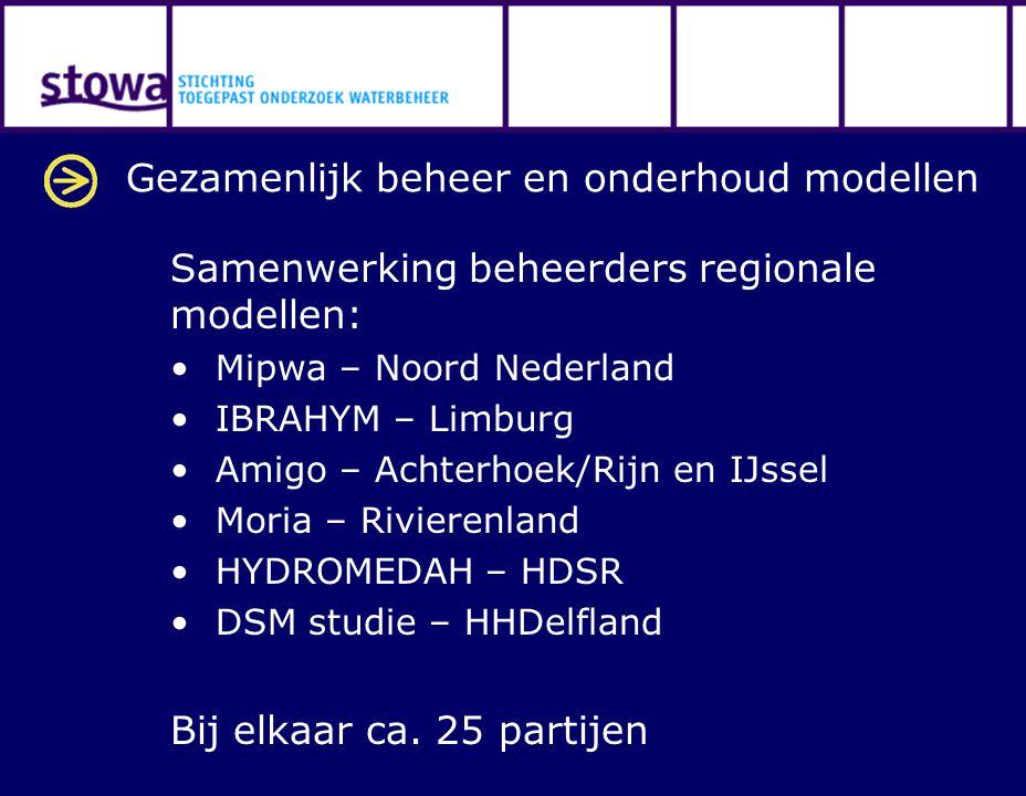 Gezamenlijk beheer en onderhoud modellen Samenwerking beheerders regionale modellen: Mipwa – Noord Nederland IBRAHYM – Limburg Amigo – Achterhoek/Rijn