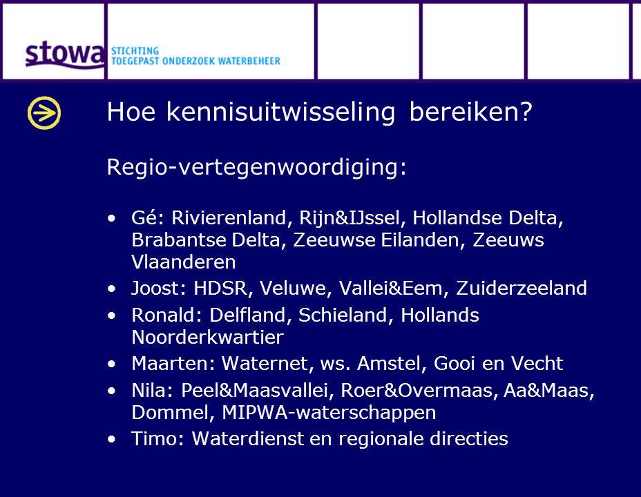 Hoe kennisuitwisseling bereiken? Regio-vertegenwoordiging: Gé: Rivierenland, Rijn&IJssel, Hollandse Delta, Brabantse Delta, Zeeuwse Eilanden, Zeeuws V