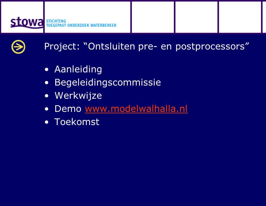 """Project: """"Ontsluiten pre- en postprocessors"""" Aanleiding Begeleidingscommissie Werkwijze Demo www.modelwalhalla.nlwww.modelwalhalla.nl Toekomst"""