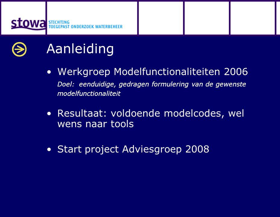 Aanleiding Werkgroep Modelfunctionaliteiten 2006 Doel: eenduidige, gedragen formulering van de gewenste modelfunctionaliteit Resultaat: voldoende mode