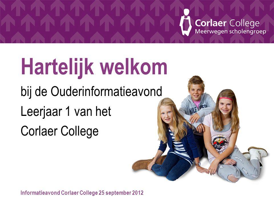 Informatieavond Corlaer College 25 september 2012 Hartelijk welkom bij de Ouderinformatieavond Leerjaar 1 van het Corlaer College