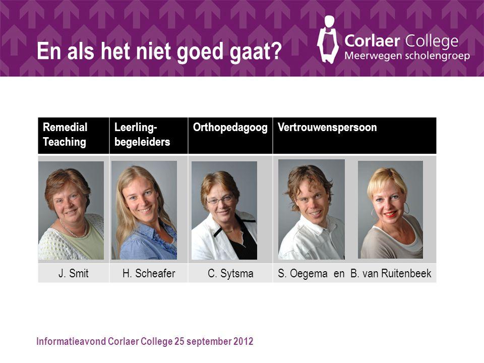 Informatieavond Corlaer College 25 september 2012 En als het niet goed gaat? Remedial Teaching Leerling- begeleiders OrthopedagoogVertrouwenspersoon J