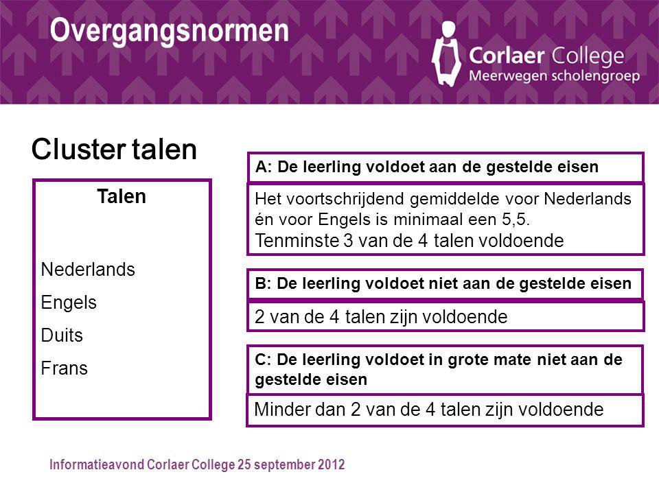 Informatieavond Corlaer College 25 september 2012 Overgangsnormen Talen Nederlands Engels Duits Frans Het voortschrijdend gemiddelde voor Nederlands é