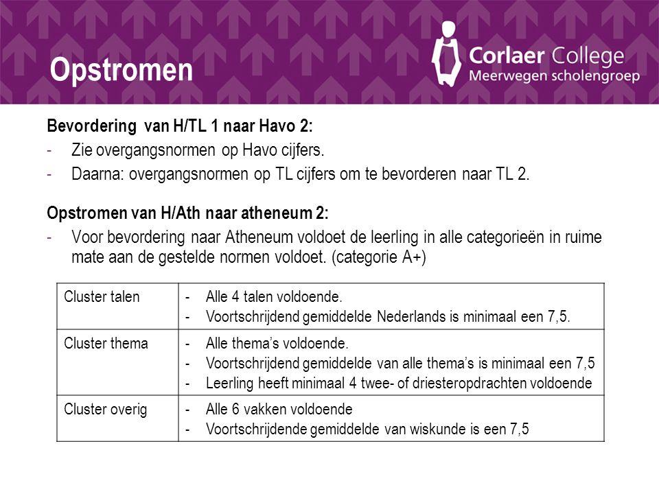 Opstromen Bevordering van H/TL 1 naar Havo 2: -Zie overgangsnormen op Havo cijfers. -Daarna: overgangsnormen op TL cijfers om te bevorderen naar TL 2.