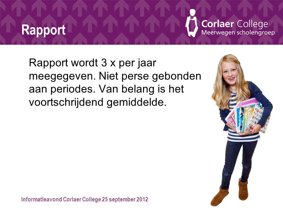 Informatieavond Corlaer College 25 september 2012 Rapport Rapport wordt 3 x per jaar meegegeven. Niet perse gebonden aan periodes. Van belang is het v