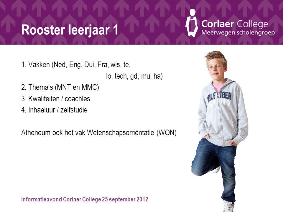 Informatieavond Corlaer College 25 september 2012 Rooster leerjaar 1 1. Vakken (Ned, Eng, Dui, Fra, wis, te, lo, tech, gd, mu, ha) 2. Thema's (MNT en