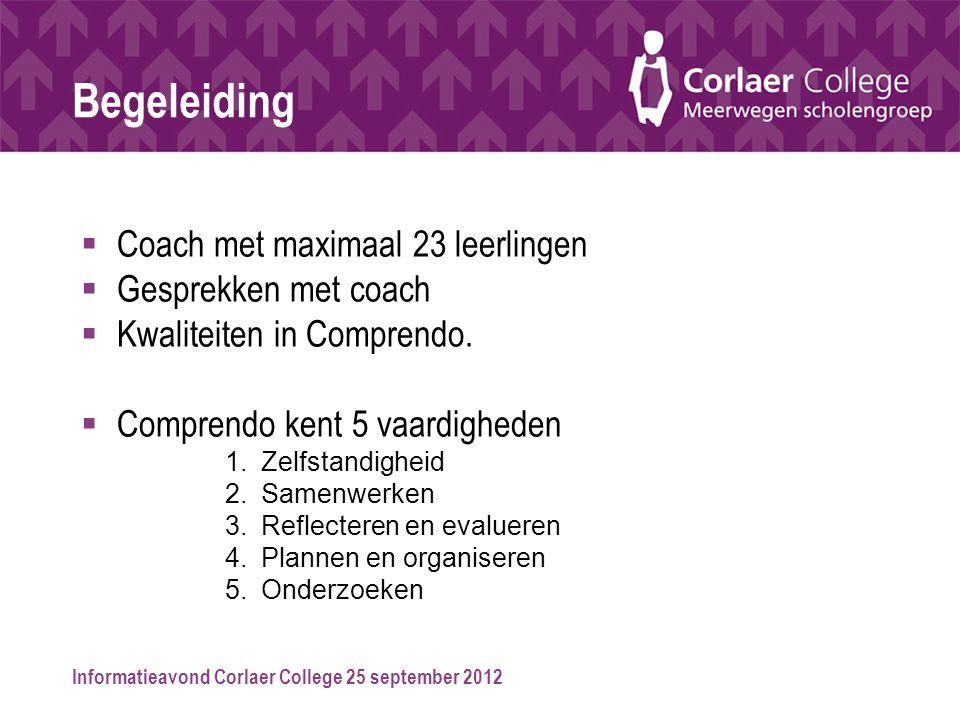 Informatieavond Corlaer College 25 september 2012 Begeleiding  Coach met maximaal 23 leerlingen  Gesprekken met coach  Kwaliteiten in Comprendo. 