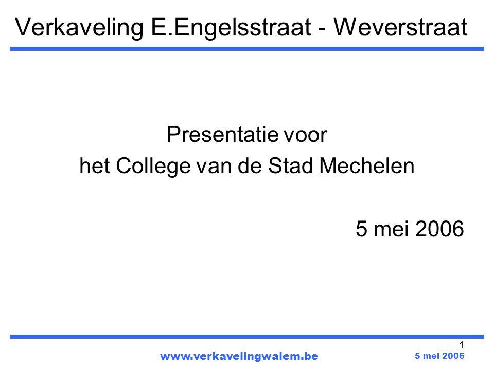 1 Verkaveling E.Engelsstraat - Weverstraat Presentatie voor het College van de Stad Mechelen 5 mei 2006 www.verkavelingwalem.be 5 mei 2006