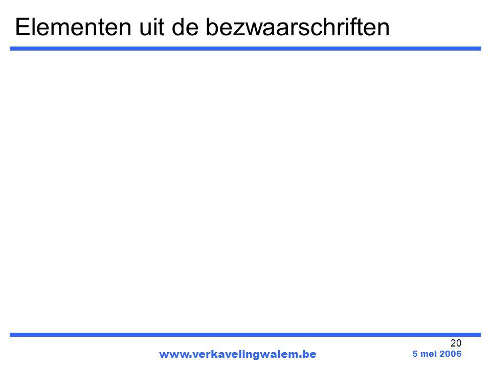 20 Elementen uit de bezwaarschriften www.verkavelingwalem.be 5 mei 2006