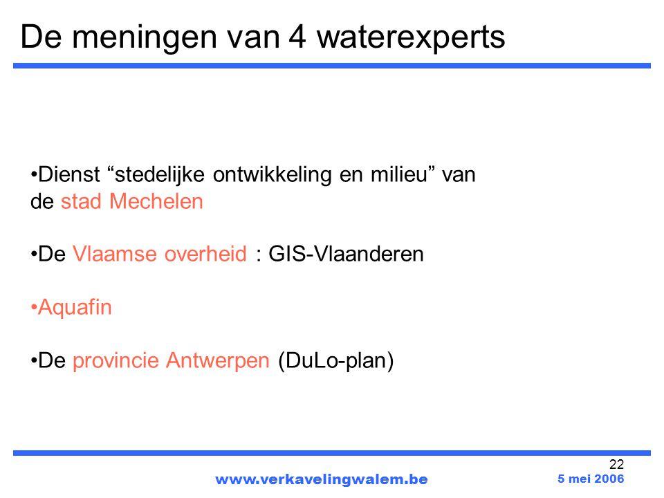 """22 De meningen van 4 waterexperts www.verkavelingwalem.be 5 mei 2006 Dienst """"stedelijke ontwikkeling en milieu"""" van de stad Mechelen De Vlaamse overhe"""