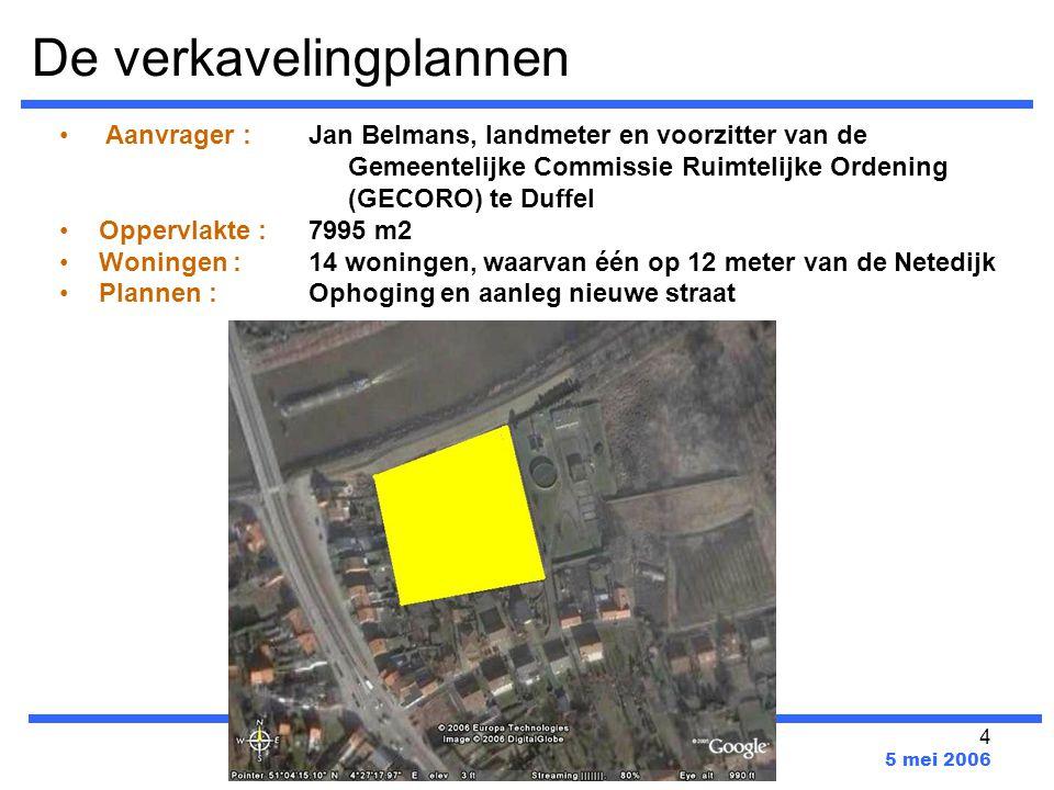 4 De verkavelingplannen www.verkavelingwalem.be 5 mei 2006 Aanvrager : Oppervlakte : Woningen : Plannen : Jan Belmans, landmeter en voorzitter van de