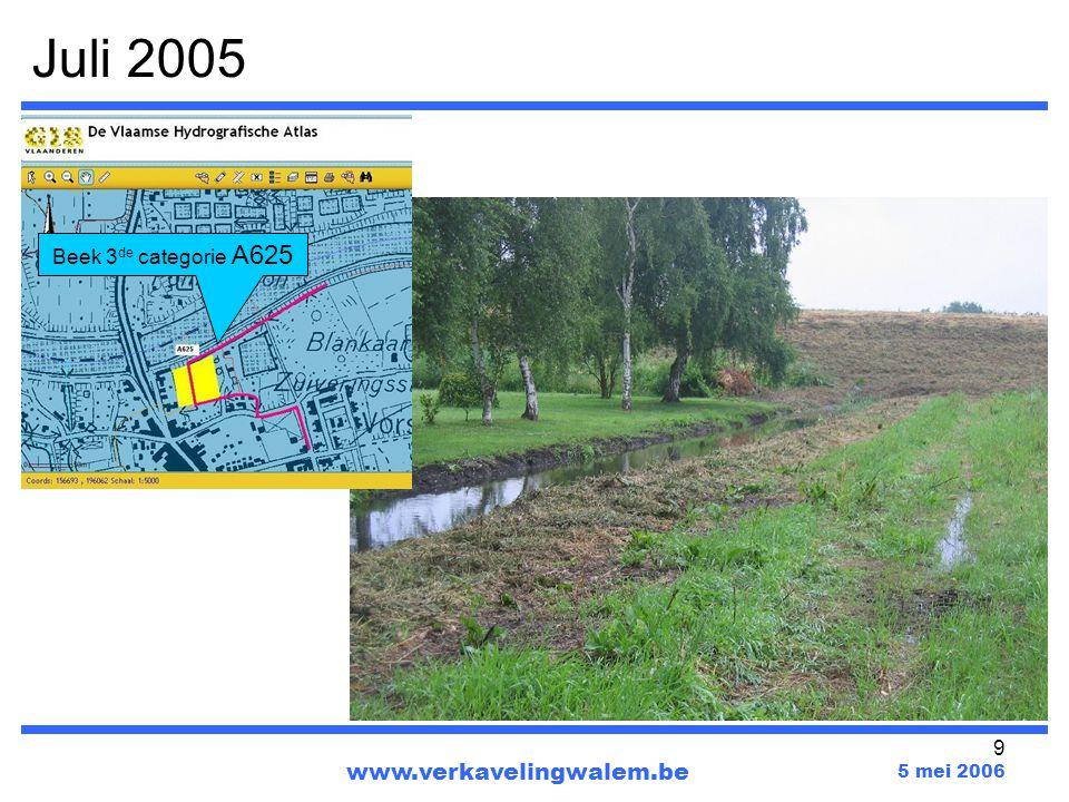30 www.verkavelingwalem.be 5 mei 2006 Kaart 5 : Bodemkaart – drainageklasse Het verkavelingperceel bevindt zich in een zeer nat gebied DuLo : zeer nat gebied