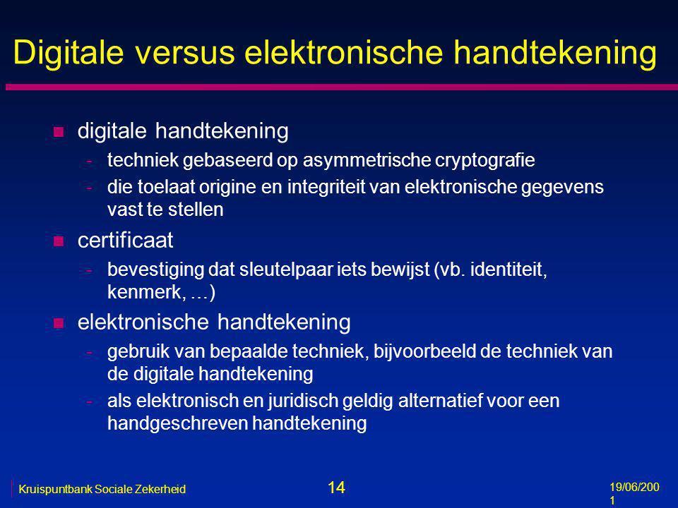 14 19/06/200 1 Kruispuntbank Sociale Zekerheid Digitale versus elektronische handtekening n digitale handtekening -techniek gebaseerd op asymmetrische