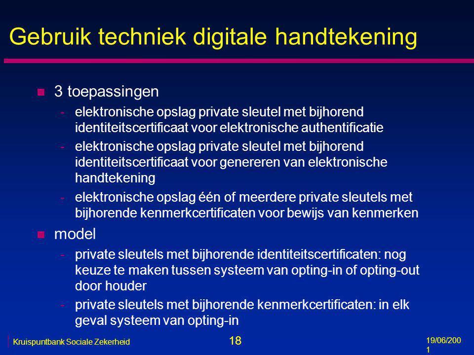 18 19/06/200 1 Kruispuntbank Sociale Zekerheid Gebruik techniek digitale handtekening n 3 toepassingen -elektronische opslag private sleutel met bijho