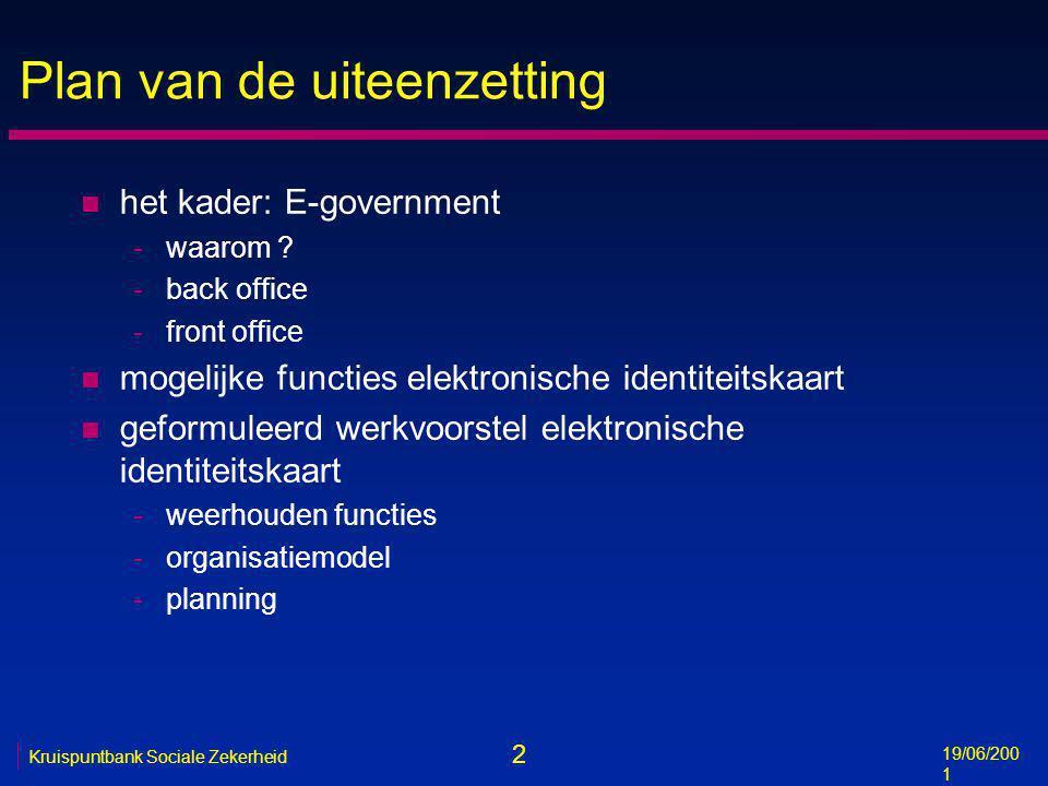 3 19/06/200 1 Kruispuntbank Sociale Zekerheid Waarom E-government .